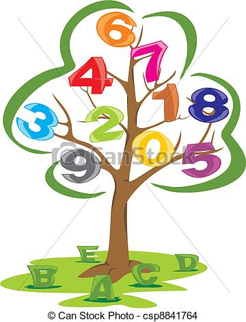 Number clipart tree And letters with tree numbers