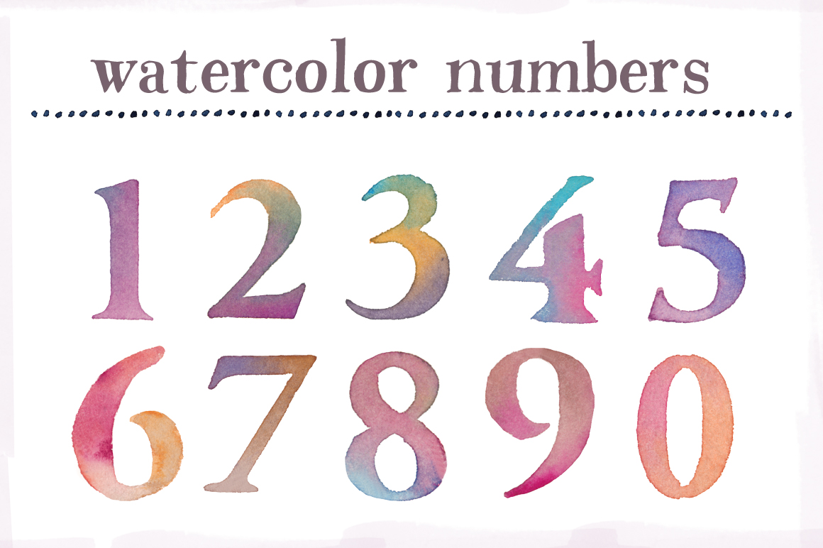 Number clipart watercolor  Numbers Clip Art Watercolor