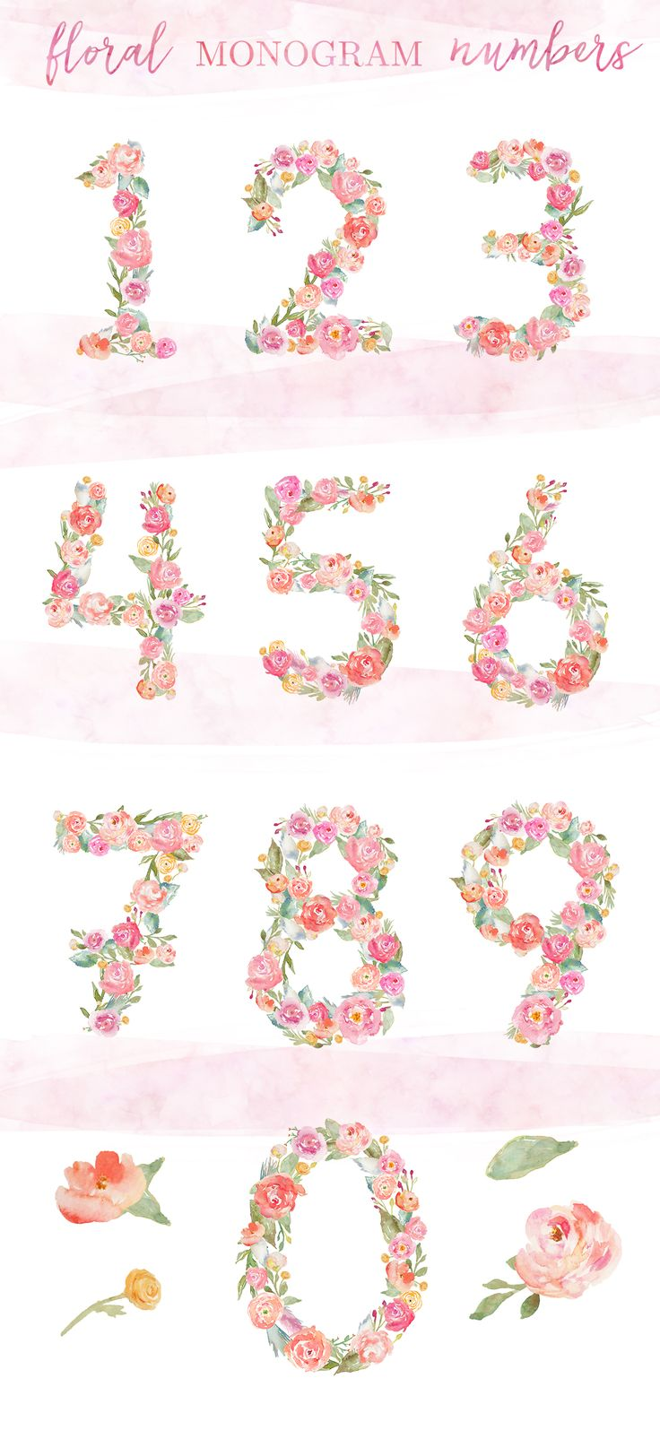 Number clipart watercolor For These Art Flower Perfect