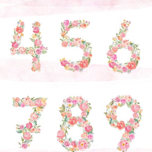 Number clipart watercolor Angie Watercolor Numbers Archives Clip