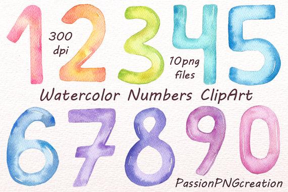 Number clipart watercolor PNG files files PNG Watercolor
