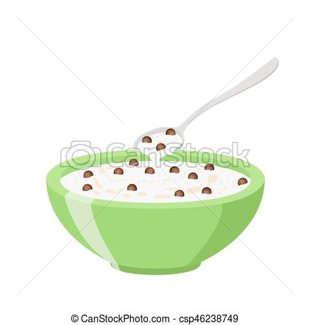Oatmeal clipart bowl spoon Cereal Milk and Flat