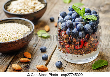 Quinoa clipart cereal bowl On nuts blueberries blueberries