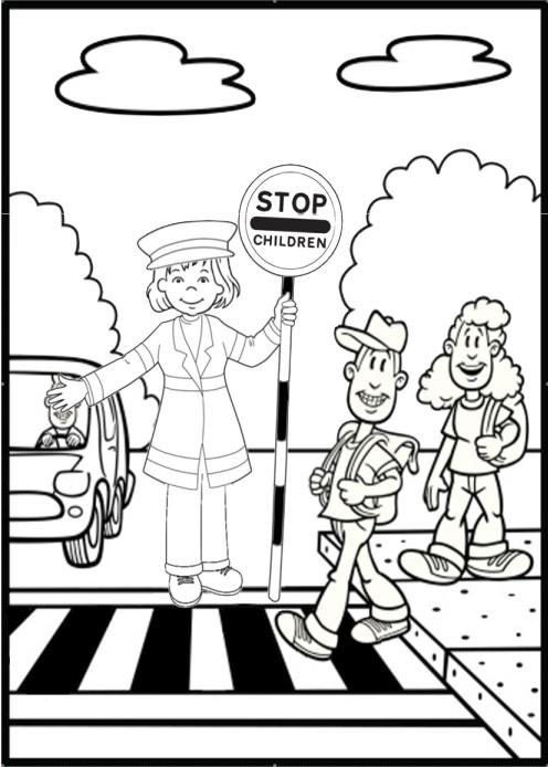 Drawn roadway cartoon Olivia Safety Page Bingo com