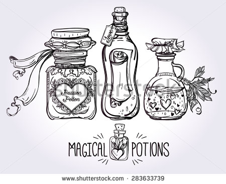 Occult clipart traditional Drawn Illustrations  potions set: