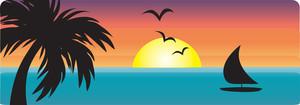 Tropical clipart ocean sunset #6