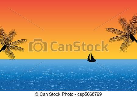 Tropical clipart ocean sunset #4