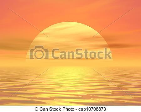 Ocean clipart ocean sunset Sunset Illustrations Illustration over over