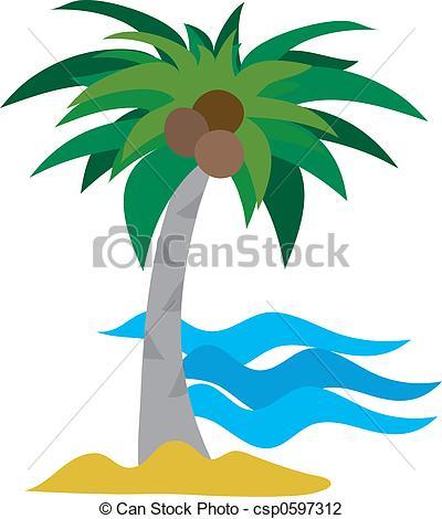 Ocean clipart palm tree Single csp0597312 tree of