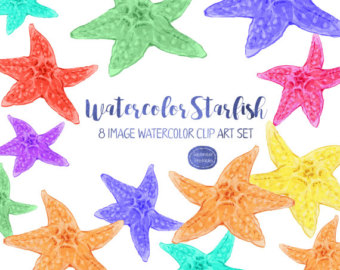 Ocean clipart starfish Watercolor clip Etsy Summer Clipart
