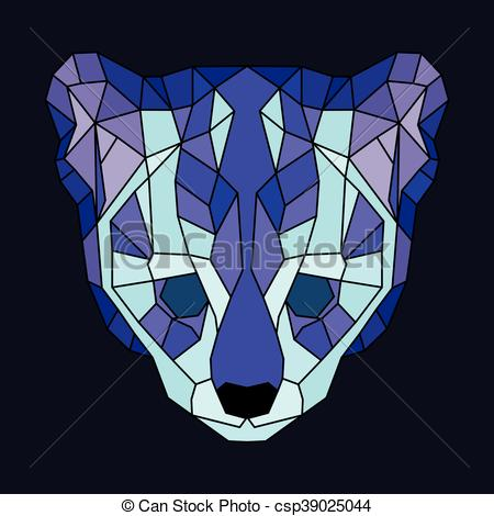 Ocelot clipart drawing Poly of violet Geometric and