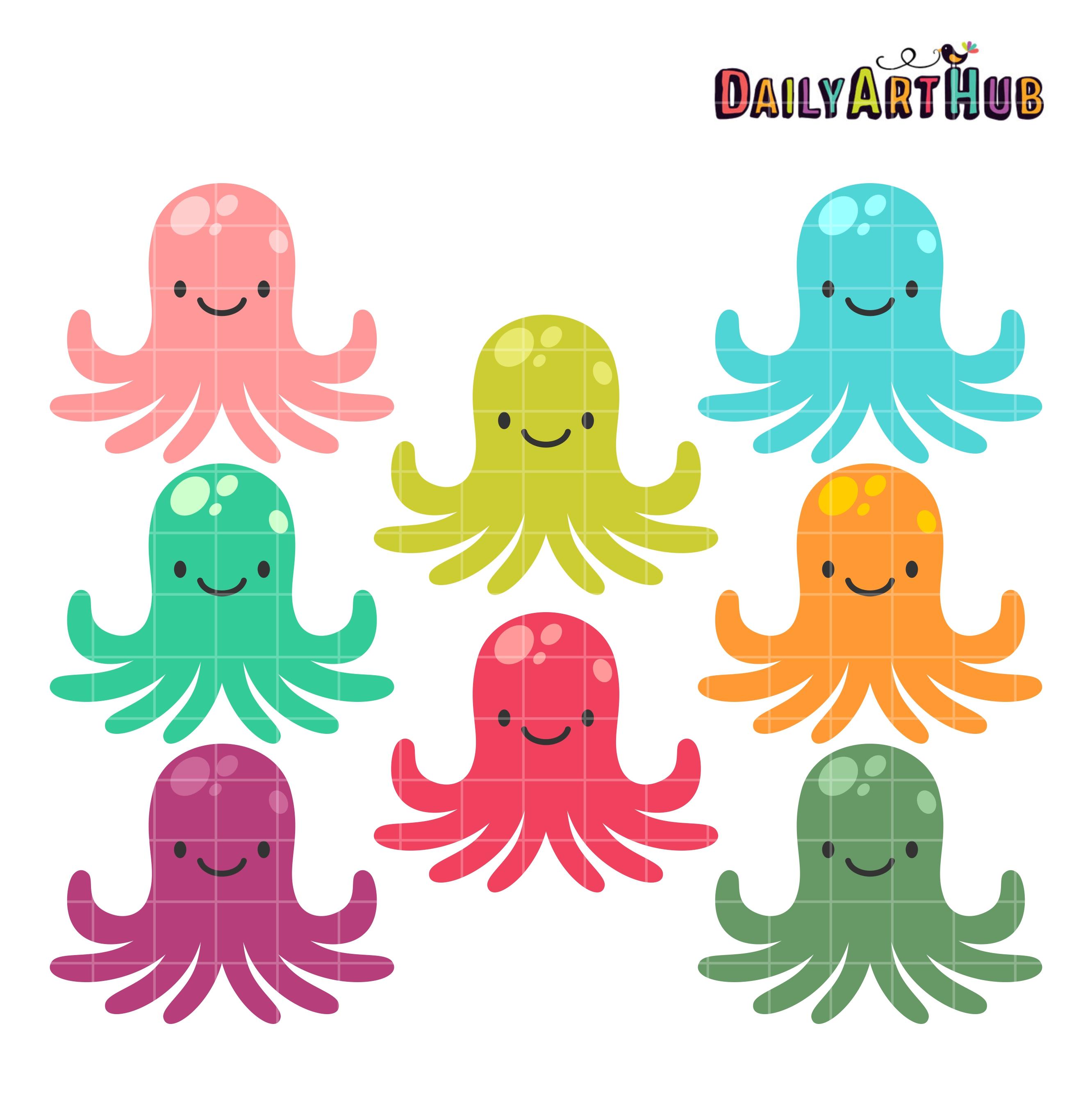 Octopus clipart scared Art Clip Cute Set Colorful