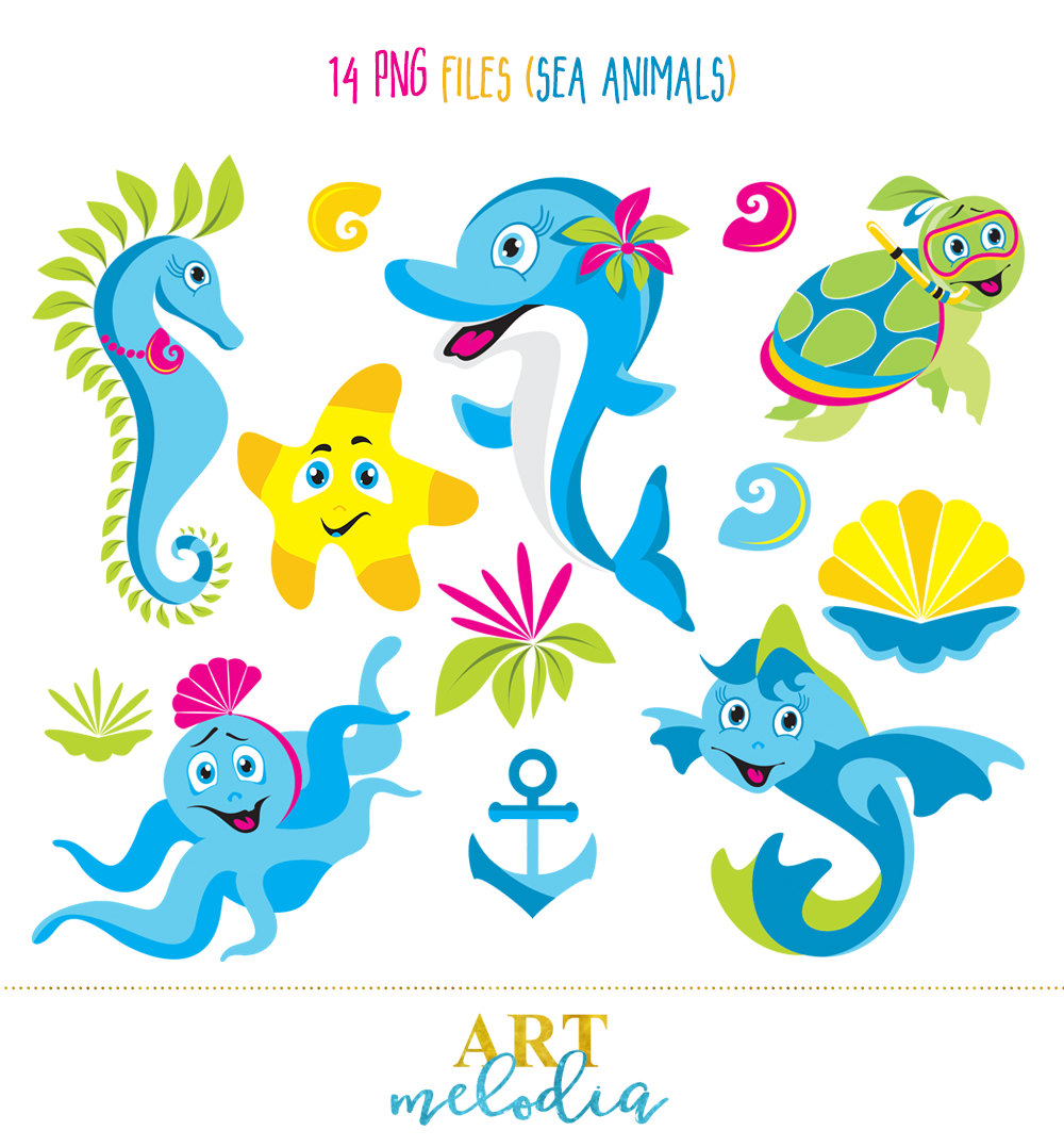 Octopus clipart seahorse Set Sea Seahorse Blue is