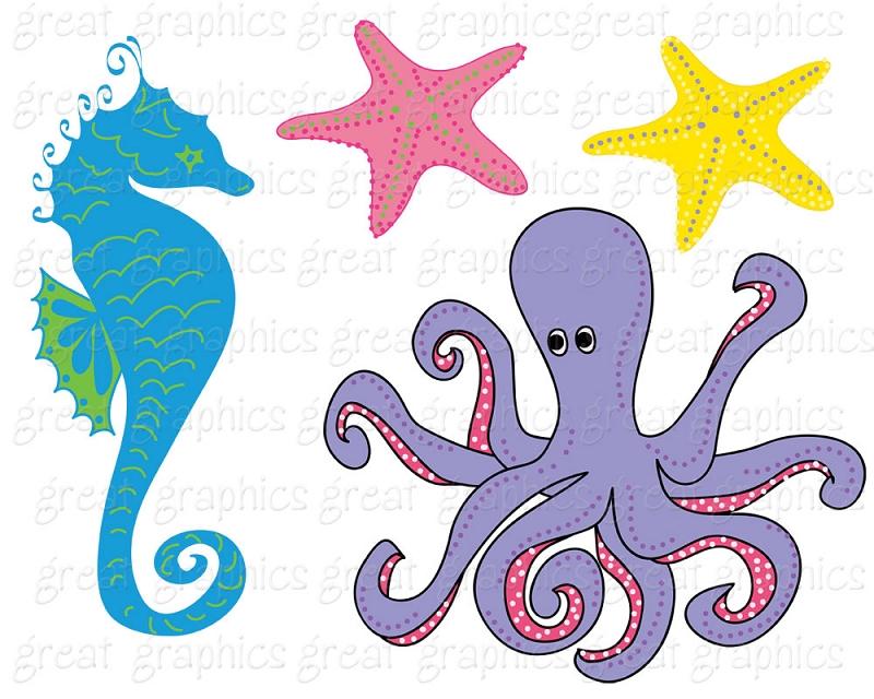 Octopus clipart seahorse Sea FishUnder Art Under Others