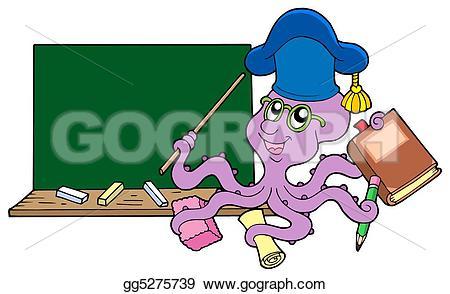 Octopus clipart teacher Octopus blackboard illustration gg5275739 teacher