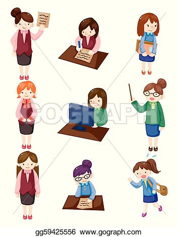 Office clipart cartoon Icon set pretty office Vector