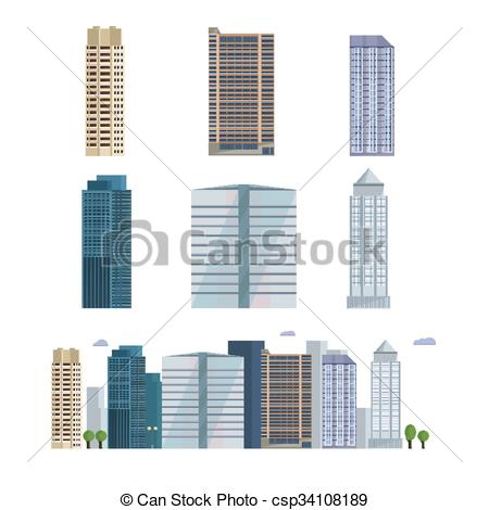 Cityscape clipart office building Buildings Office Vector skyline city