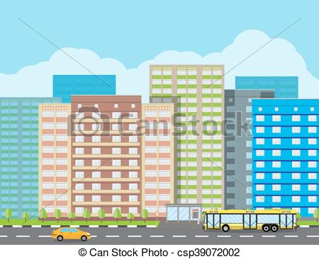 Office clipart cityscape And trees Cityscape residental View
