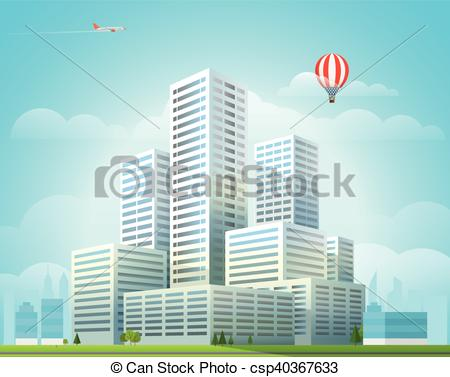 Office clipart cityscape Illustration city Office of cityscape