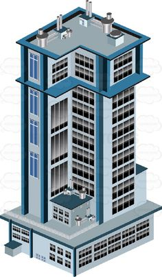 Skyscraper clipart apartment building Tower Attached Light Buildings Multiple