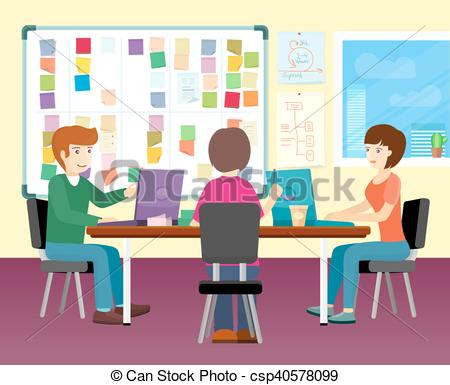 Office clipart group teacher Of Working Vectors EPS Group