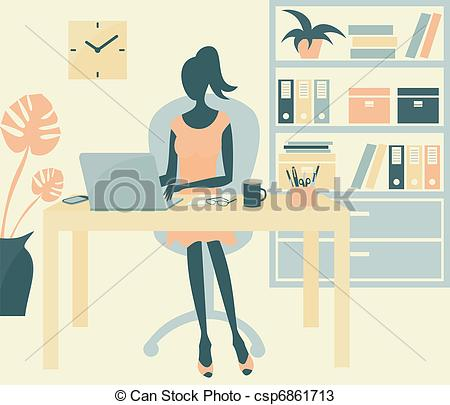 Office clipart office environment A woman of office woman