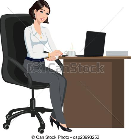 Women clipart office A a behind a a