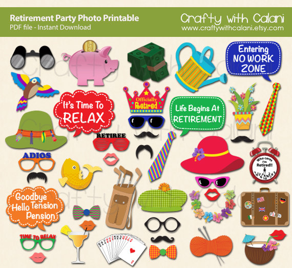Office clipart retirement party Photo prop Party farewell Printable