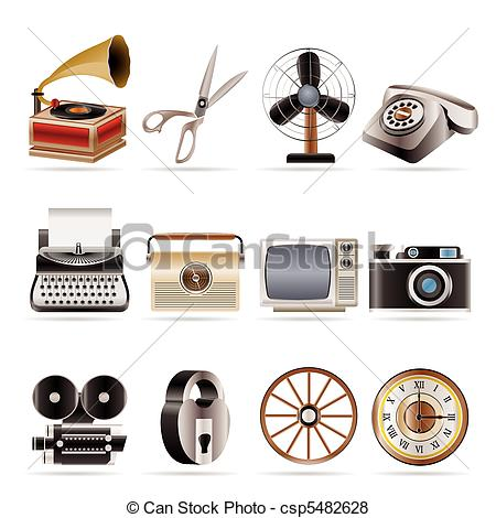 Office clipart retro Vector icons and icon Vector