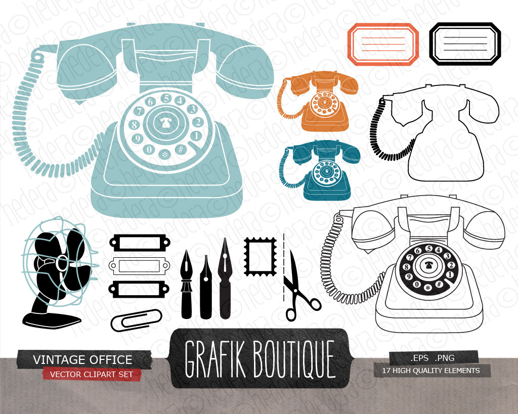 Office clipart retro Office vector  clip Vintage