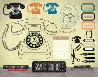 Office clipart retro Retro digital digital phone scrapbooking