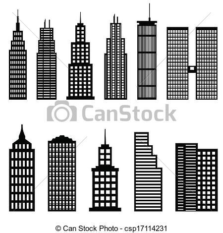 Office clipart tall building Of skyscrapers  Vectors csp17114231