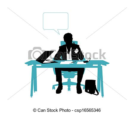 Office clipart thinking His seated thinking desk in
