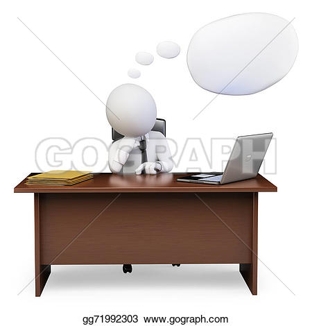 Office clipart thinking Stock isolated to white his