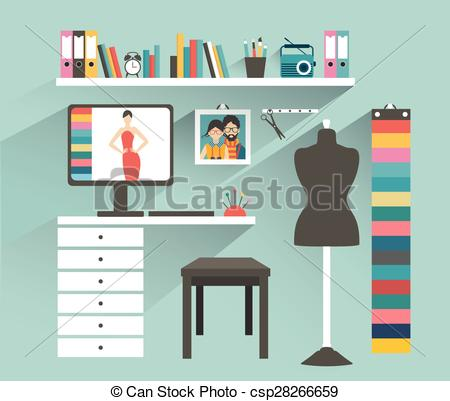 Office clipart workplace Flat Fashion designer Vector csp28266659
