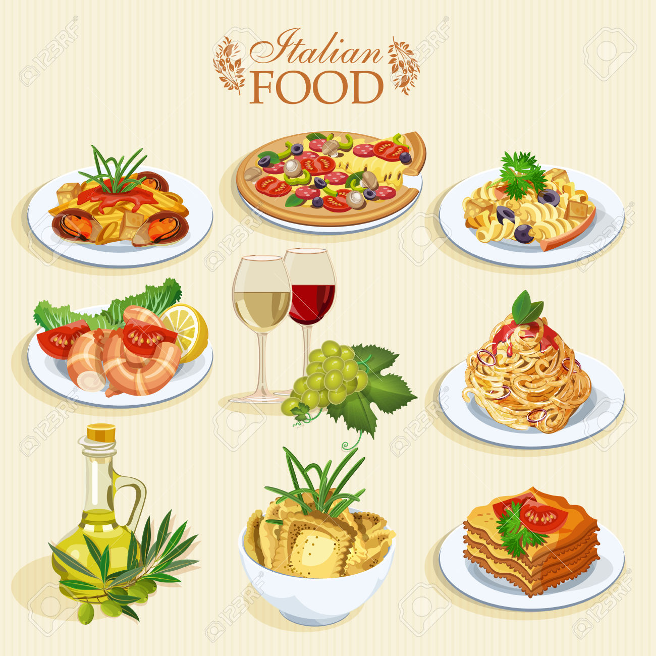 Macaroni clipart pizza and pasta Stock clipart collection food Dinner