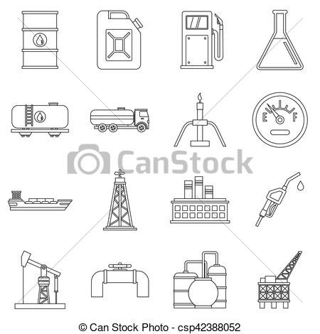 Oil clipart outline Industry Vector set outline set