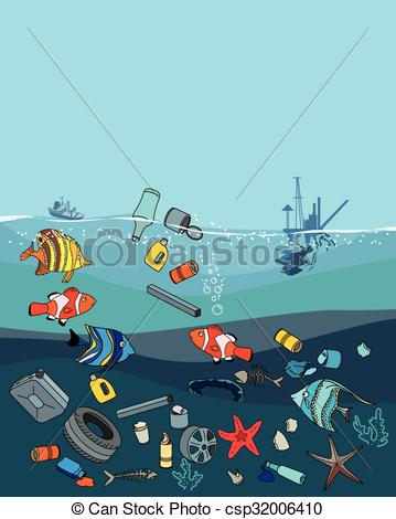 Sea clipart polluted #2