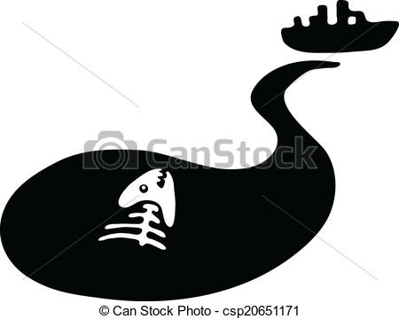 Oil clipart water pollution Fish  water slick fish