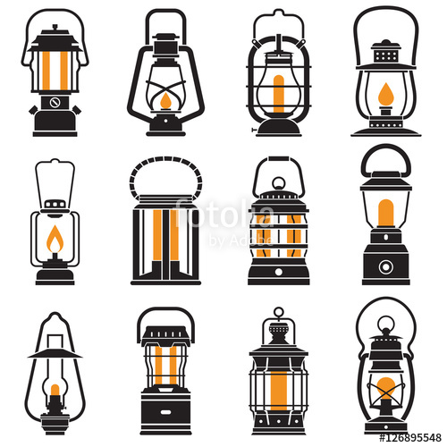 Oil Lamp clipart pongal Different lamp isolated retro and