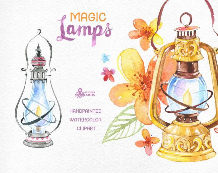 Oil Lamp clipart magic lamp Leaves oil handpainted handpainted Watercolor