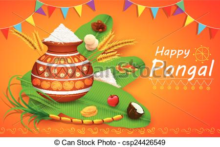 Oil Lamp clipart pongal Pongal of  greeting Happy