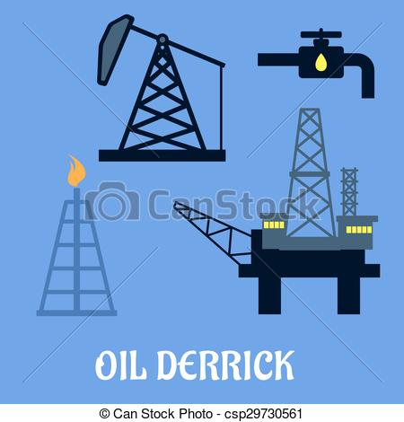 Oil Rig clipart mining industry  concept a Vector with