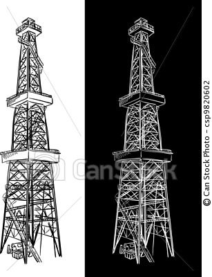 Oil Rig clipart old Stock Vector illustrations illustration images