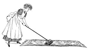 Old clipart cleaning lady Woman Dusting  and black