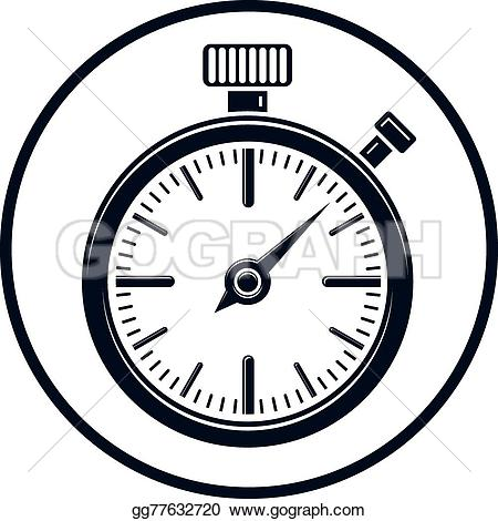 Old clipart stopwatch Fashioned graphic illustration Old stopwatch
