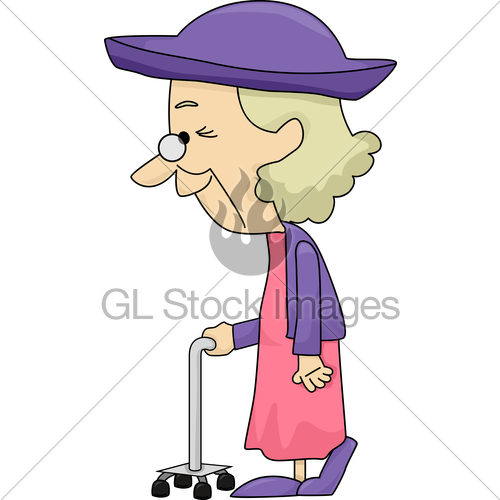 Old clipart walking stick Images Stock With An With