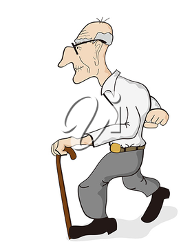 Old clipart walking stick Illustration Art a Art man