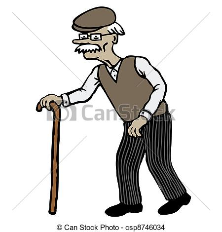 Old clipart walking stick Royalty Elderly and Man with