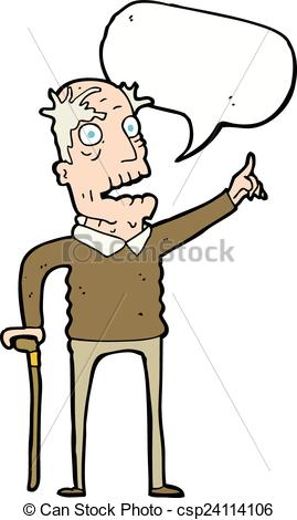 Old clipart walking stick With man Vector old speech